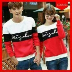 Review Tentang Couplelover Sweater Pasangan Wisdom Red Pria Wanita Baju Pasangan Sweater Kapel Baju Kembaran Fashion Couple