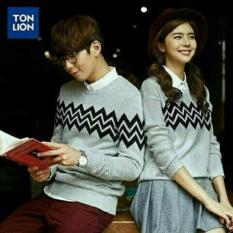 Cara Beli Couplelover Sweater Pasangan Zigzag Abu Pria Wanita Baju Pasangan Sweater Kapel Baju Kembaran Fashion Couple