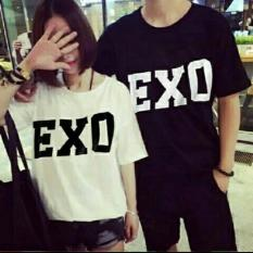 COUPLELOVER-T-SHIRTS COUPLE EXO BLACK WHITE PD  BAJU FASHION  KAOS PASANGAN (PRIA+WANITA)