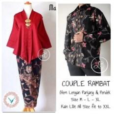 Couple/Pasangan Kebaya Kutubaru Delima Dan Batik Pria Lengan Panjang Warna Maroon