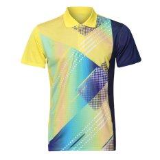 Pasangan Bulutangkis Jersey Butterfly Jaringan Bernapas Keringat Melepaskan Sport Polo Shirt Kuning Luar Ruangan Sportswear-Intl