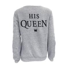 Pasangan Pencocokan Kaos Katun Sportswear Lengan Panjang Huruf Cetak Ratunya Grey Warna Sweater Tops untuk Kekasih Wanita Hadiah Hari Valentine-Intl