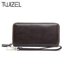 Sapi Kulit Asli Dompet Pria Pria Clutch Bag Double Zipper Longwallets Portable Arus Dompet Kantung Telepon Gengam Jakarta Hqb1848-Intl