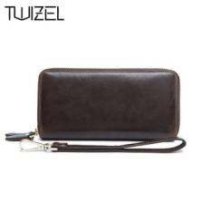 Sapi Asli Kulit Mens Dompet Pria Clutch Bag Double Zipper LongWallets Portable Arus Dompet Telepon Tas JAKARTA HQB1848-Intl