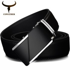 COWATHER 100% SAPI Sabuk Kulit Asli untuk Kualitas Tinggi Male Merek Otomatis Ratchet Buckle Belt 1.25