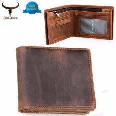 COWATHER Top Cow Genuine Kulit Pria Dompet Mewah Zipper Bifold Pendek Gaya Laki-laki purse-intl