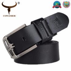 Promo Cowather 2017 Cowhide Belt Top Sapi Kulit Asli Pria Sabuk For Pria Fashion Alloy Pin Buckle Full Grain Pria Tali Lebar 1 1 2 Tiongkok
