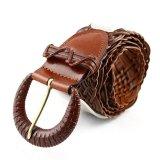 Cowather Wanita Rajutan Sapi Sabuk Kulit Untuk Wanita Strap Female Pin Buckle Belt Summer Dress Belt Brown 105 Cm Intl Original