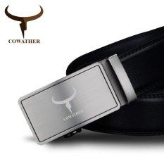 Cowather Jambul Pria Kulit Asli Ratchet Dress Belt With Bisnis Gesper Otomatis Paduan Buckle Belt Asli