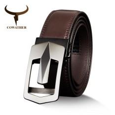 Cowather Pria 100% Terbaik Sapi Kulit Gaun Sabuk dengan Paduan Otomatis Gesper Sabuk untuk Pria Desain Pria Tali Pinggang 29 -44 (110-130 Cm) -Internasional