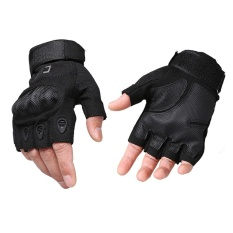 Harga Cqb Outdoor Gloves Half Finger Protection Riding Exercise Training Combat Non Slip Cut Resistant Gloves Black M Intl Branded