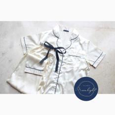 Cream Silk Sleepwear Pajamas Piyama Piama Baju Tidur Satin Biru Daster - Lcxxlq