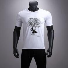 Kreatif Teknologi Hitam-Man Nano Bahan 3D Printing Waterproof Antifouling Putih Hit Warna Bernapas Slim Couple Lengan Pendek T -shirt-Putih-Intl