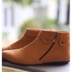 Cremline - Sepatu Boots Wanita Casual Korea - Tan