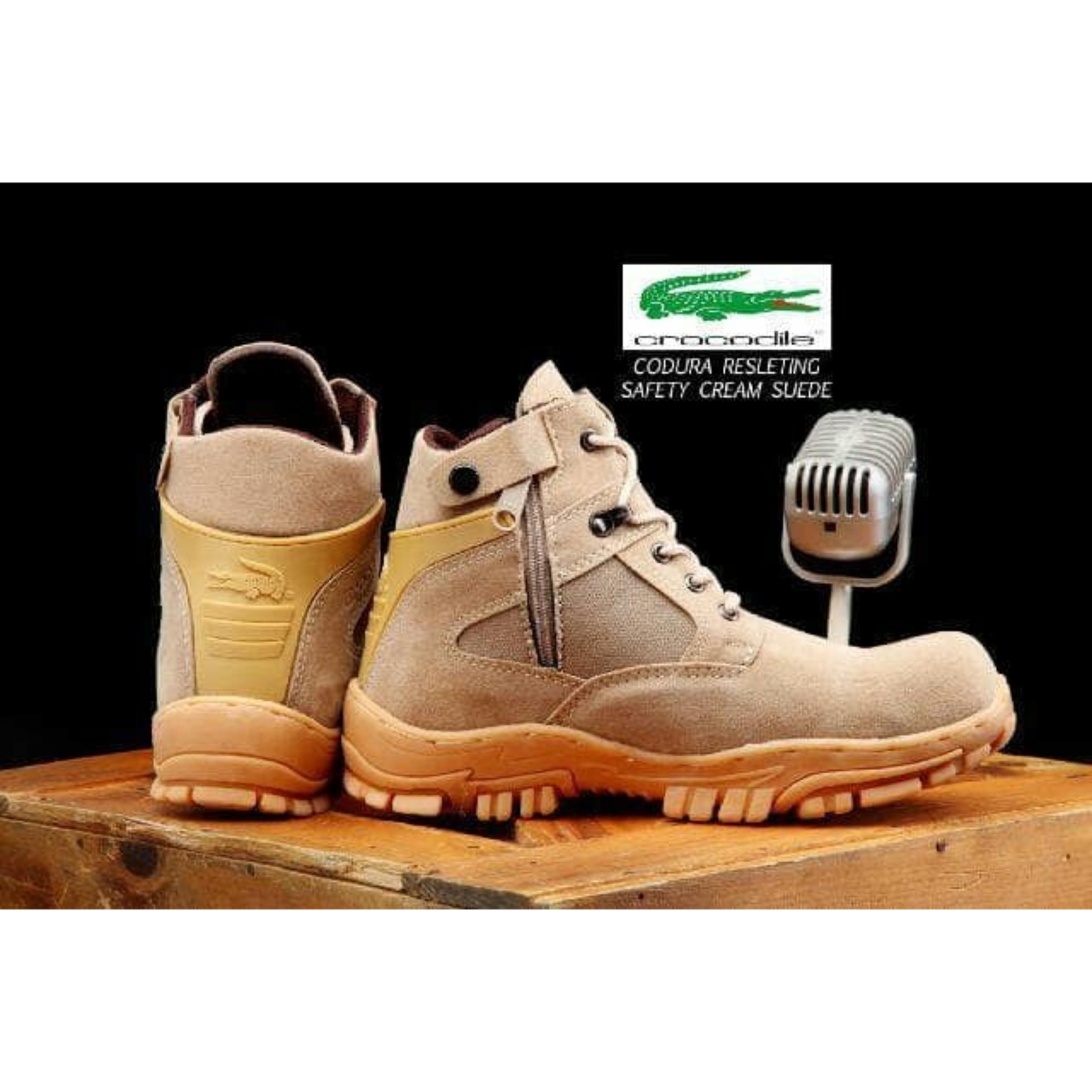 Sepatu Pria Boots Safety Crocodile Cordura Resleting Ujung Besi Nike California Tracking Proyek Tactical