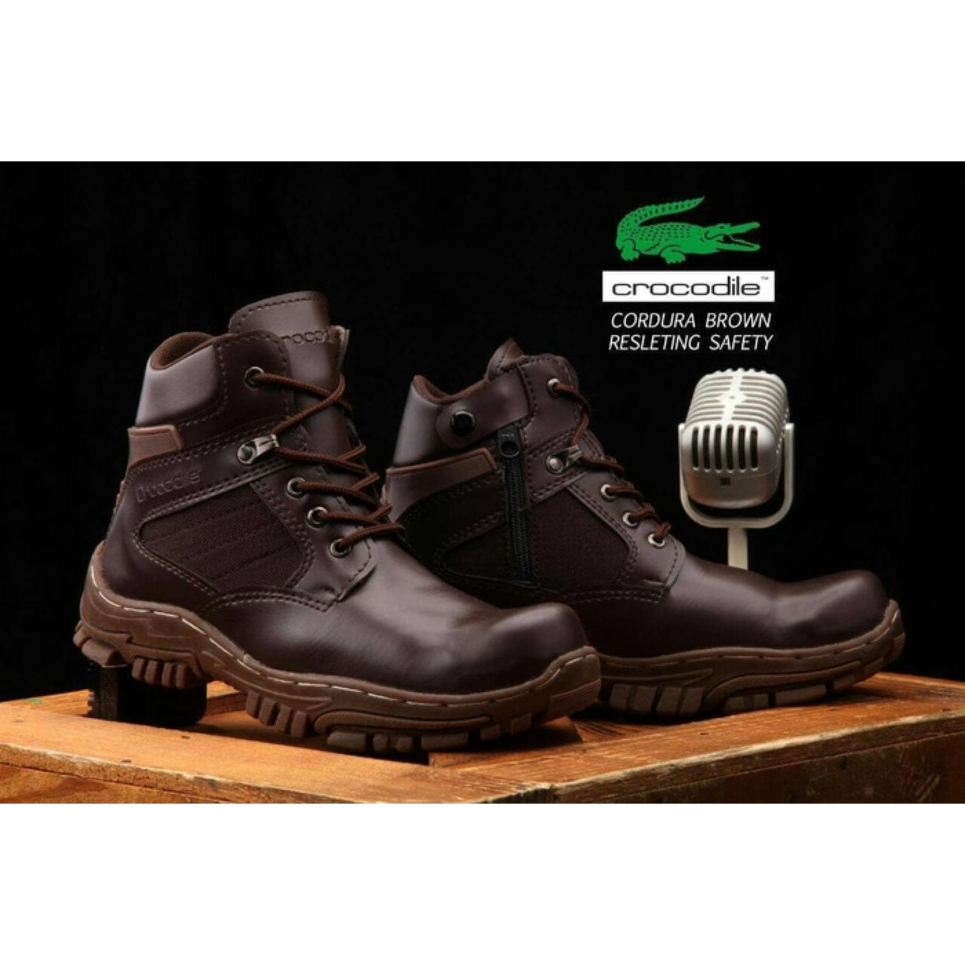 Crocodile Cordura Sepatu Pria Ujung Besi Safety Boots Proyek Tactical