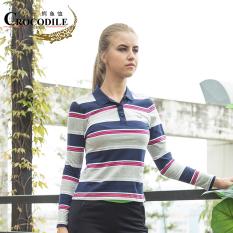 Buaya atau Bahan Katun Yang Nyaman Baru Musim Gugur Kasual Olahraga Perempuan Polo Kaus (Lan Mawar)