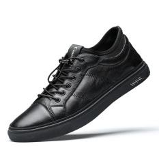 Buaya Korea Modis Gaya Kulit Pria Sepatu Pria Baru Kasual Sepatu Kulit (Hitam)