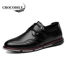 Buaya Korea Modis Gaya Pria Musim Semi atau Musim Gugur Baru Sepatu Santai Sepatu Kulit (Hitam)