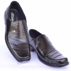Crocodile Sepatu Kulit Sepatu Kerja Pria Branded Sepatu Pantofel Pria   - A9 - Hitam