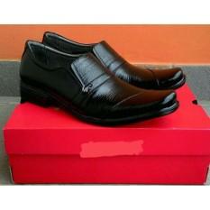 crocodile - Sepatu pria crocodile Pantofel Kulit Sapi hitam dinas kerja kantor