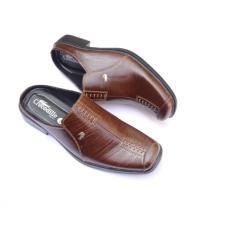 Crocodile Sepatu Sandal Selop - Sandal Sepatu Pria - Sandal Pria - Kulit Sapi Asli - A8 Coklat