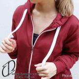 Beli Crop Jaket Red Fleece Jaket Hoodie Bomber Casual Atasan Wanita Seken