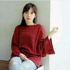 Crop Jaring Maroon Best Seller D1Ny Collection Diskon