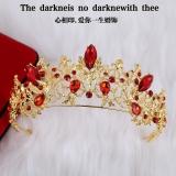 Jual Mahkota Aksesoris Rambut Pengantin Wanita Gaya Retro Hias Berlian Merah Lapis Emas Satu Set