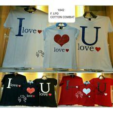 cs - koos couple / t-shirt couple family 1 anak i LOVE u LOVE   l merah putih dan abu l kaos l t-shirt l real pict