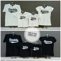 cs - koos couple / t-shirt couple family l keluarga daddy mommy & 2 bbay I REAL PICT I PUTIH MERAH HITAM REAL I FOTO ASLI