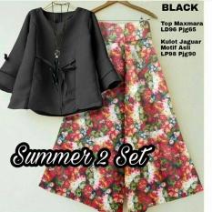 CS - SET KULOT FLOWERS summer set kulo SET black GOOD QUALITY I COD I BAYAR
