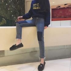 ... New style irregular slimming denim pants (Hitam). Source · CStore Musim Gugur Baru Gaya Gaya Korea Chic Slim Fit Slimming Efek Wild Retro Fashion Knee