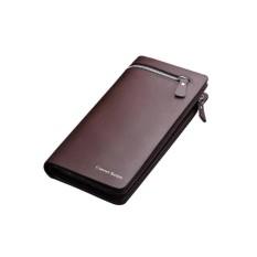 Curewe Kerien Dompet Pria Business Long Zipper Wallet Fashion Import Business Import Casual - Coklat Tua
