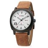 Curren Jam Tangan Pria Cokelat Strap Leather 8139 Leather Watch Asli
