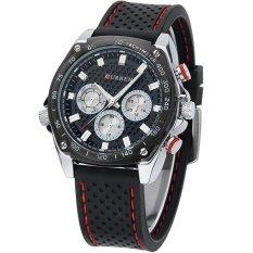 Jual Curren Jam Tangan Pria Hitam Rubber Strap 3C Sport Fashion Watch Original