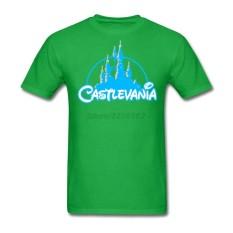 Kustom Castlevania Laki-laki Modis T Kemeja Rock Musik Kaus untuk Remaja Klasik Yang Bagus Kerah Demon Castle Kaus Hijau- internasional