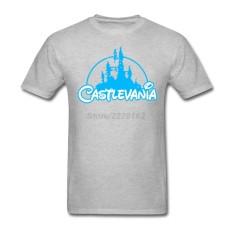 Kustom Castlevania Laki-laki Modis T Kemeja Rock Musik Kaus untuk Remaja Klasik Yang Bagus Kerah Demon Castle Kaus Gray- internasional