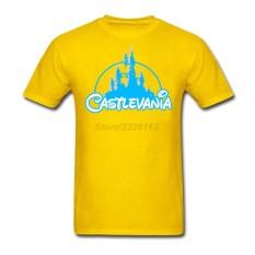 Kustom Castlevania Laki-laki Modis T Kemeja Rock Musik Kaus untuk Remaja Klasik Yang Bagus Kerah Demon Castle Kaus Kuning- internasional
