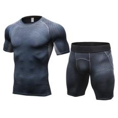 Custom Kompresi Tracksuit Demix Menjalankan Set Kebugaran Ketat T-Shirt Legging Shorts Sport Suit Pria Gym Olahraga (Grey) -Intl