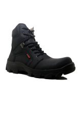 Jual Cut Engineer Safety Boots Iron Fosil Leather Hitam Cut Engineer Grosir