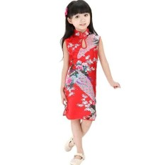 Cara Beli Cute Children Girls Chinese Cheongsam Floral Peacock Lapel Sleeveless Summer Dress Intl