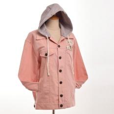 Promo Cute Girls L*L*T* Pink Jeans Jaket Dilepas Hat Hooded Lengan Panjang Pakaian Bersepeda Internasional Blessume Terbaru