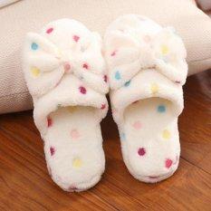 Lucu Wanita Anti-Slip Dot Ikatan Simpul Hangat Sandal Coral Sandal Beludru Sepatu Rumah Beige