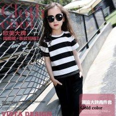 Cutevina - Ready PO Girls Fashion Big Stripped Black and White / Setelan Anak 5-15th /2pc set (TN17