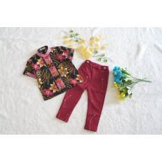 ~Cutevina~ Setelan Cheongsam cowok motif batik bunga 3-8th FC17012