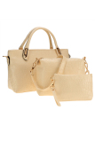 Toko Cyber 3 Pcs Set Wanita Shoulder Bag Handbag Clutches Kasual Kulit Sintetis Top Handle Bags Beige Terlengkap Di Indonesia