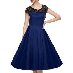 Cyber ACEVOG Wanita Lengan Topi Baju 1950 S Gaya Vintage Yang Renda Nikah Gaun Ayun Pesta Midi
