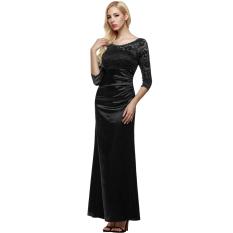Cyber ANGVNS Perempuan 3/4 Empuk Lengan Baju Renda Pesta Pernikahan Pesta Gaun Malam (Hitam)