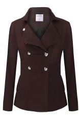 Jual Cyber Angvns Wanita Panjang Silang Berlengan Volume Padat Wol Blend Coat Hangat Pakaian Luar Mantel Brown Satu Set